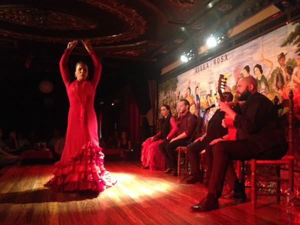 Flamenco dancer at Villa Rosa flamenco tablao in Madrid